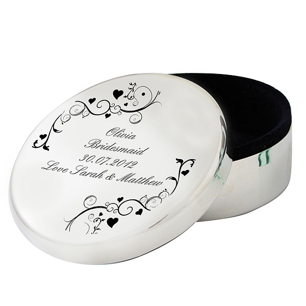 Personalized Black Swirl Round Trinket Box