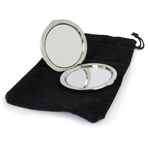 Silver Personalized Compact Mirror