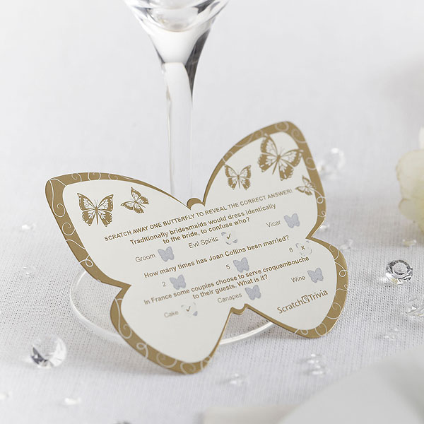 Butterfly Scratchcard Wedding Trivia