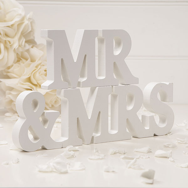 Wooden Mr & Mrs Letters Off White