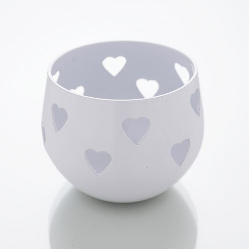 White Heart Detail Metal Tea Light Candle Holder