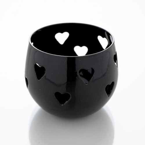 Black Heart Detail Metal Tea Light Candle Holder