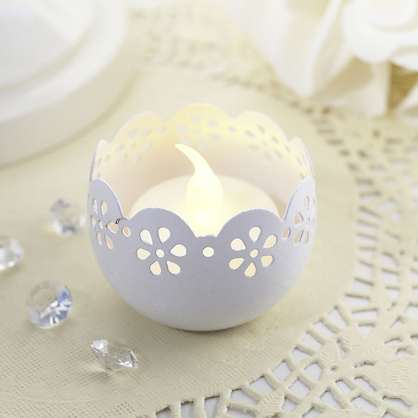Broderie Anglaise Metal Tea Light Candle Holder