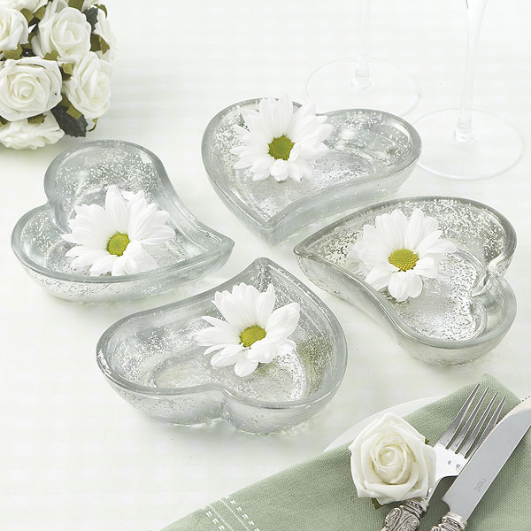 Mercury Glass Curved Heart Dish Pack