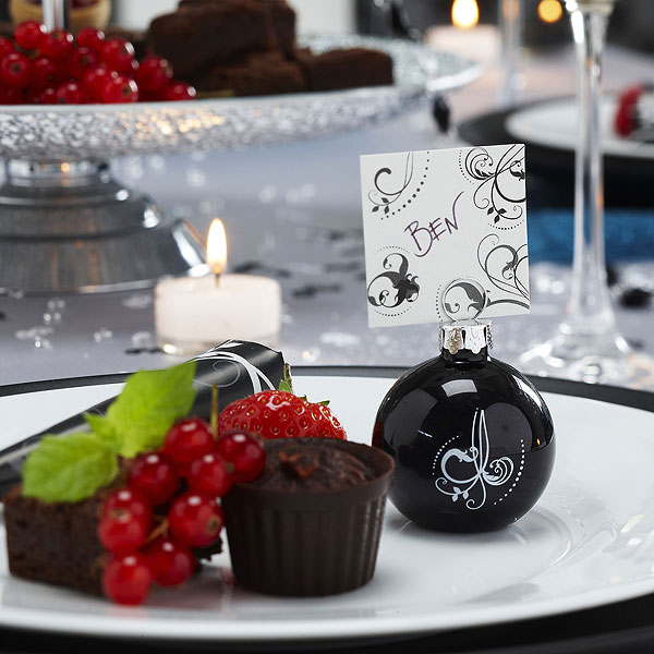 Black & White Glass Place Card Holders Pack