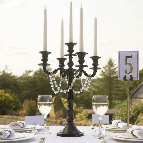 Black 5 Arm Medium Wedding Candelabra