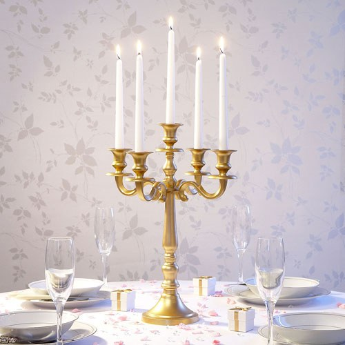 Gold 5 Arm Medium Wedding Candelabra