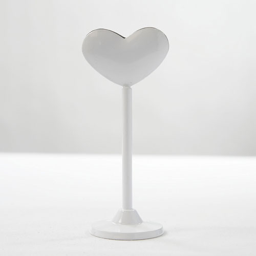 White Metal Heart Place Card Holder