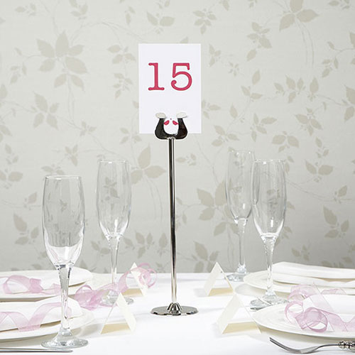 Silver Metal Scroll Table Number Holder