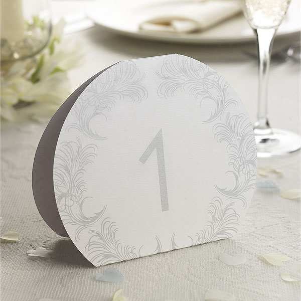 Silver Feather Scroll Table Number Cards 1-10