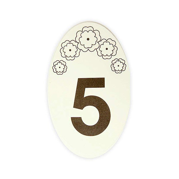 Oval Flower Design Table Numbers 1-15