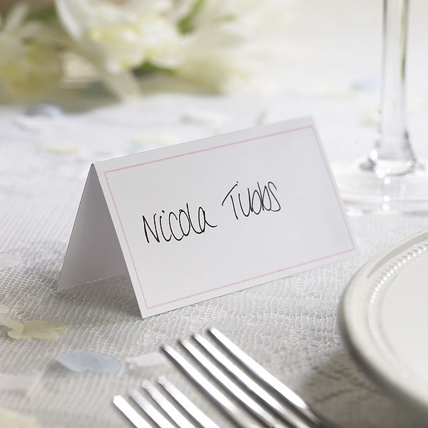 White Border with Accent Color Wedding Place Card Pack