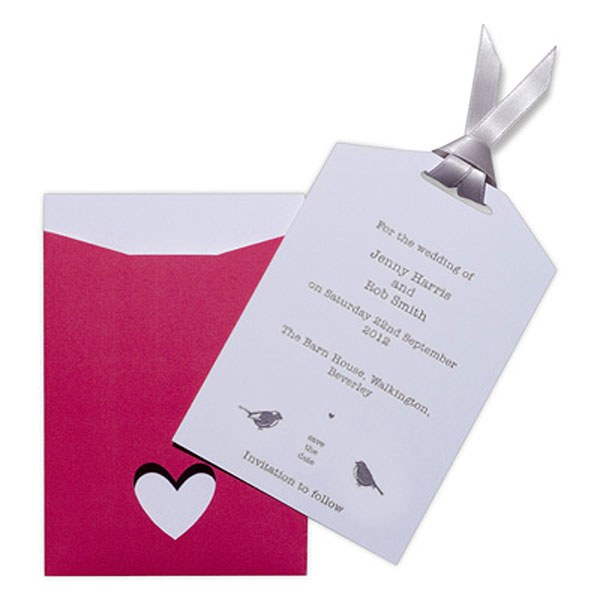 Eco Chic Hearts and Love Birds Save the Date