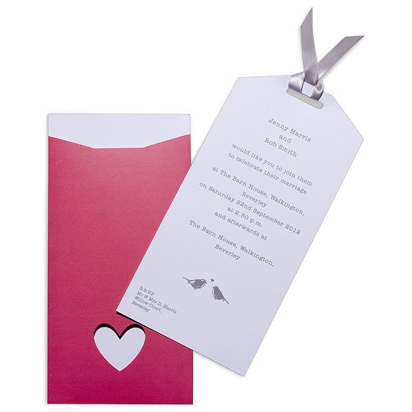 Eco Chic Hearts and Love Birds Evening Invitation