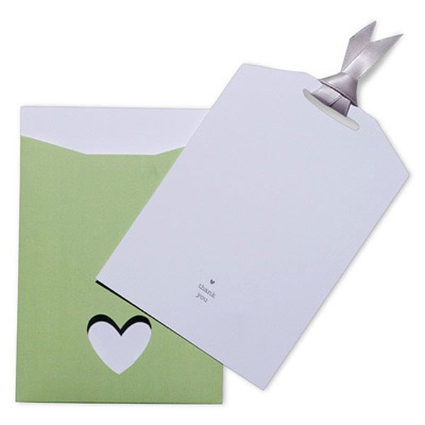 Eco Chic Hearts and Your Initials Thank You Card