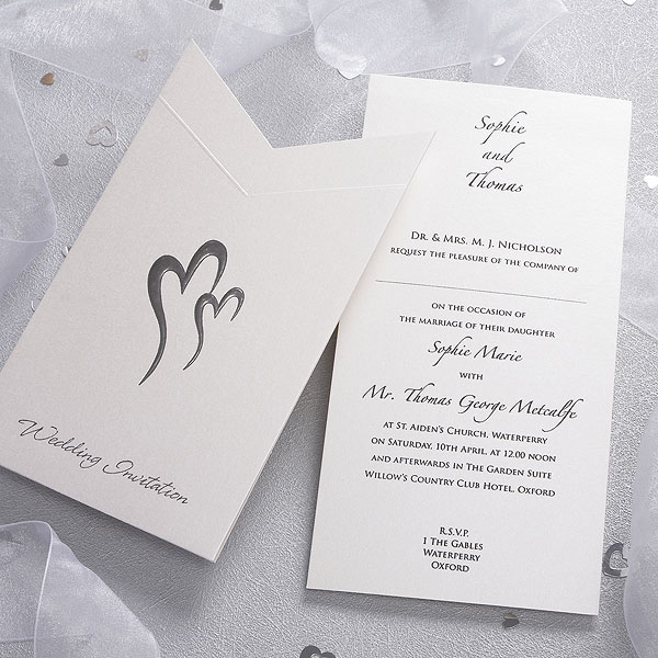 Ananta Collection Pearlised Wallet With Contemporary Silver Love Hearts Invitation