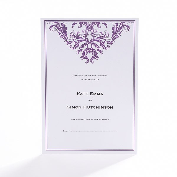 Baroque Border Flat Wedding Stationery Collection RSVP