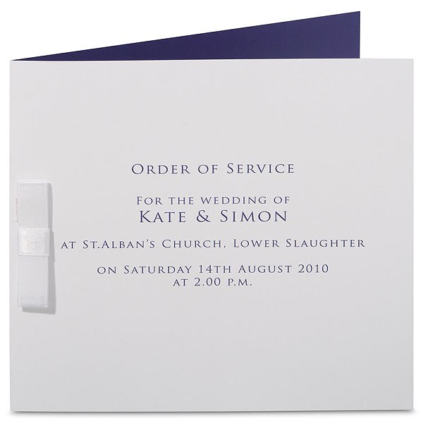 Chelsea Crisp White Folded Stationery With Ribbon Detail Order of Service