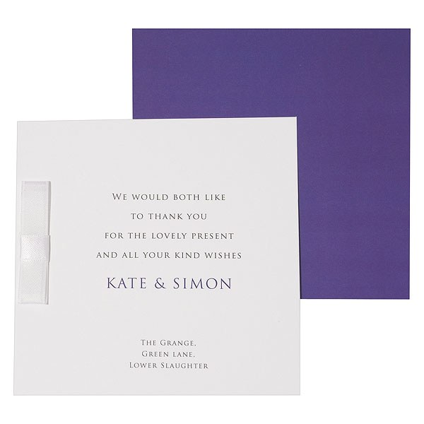 Chelsea Crisp White Folded Stationery With Ribbon Detail Thank You Card