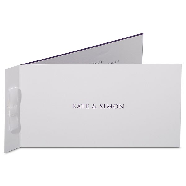 Chelsea Crisp White Folded Stationery With Ribbon Detail Evening Invitation