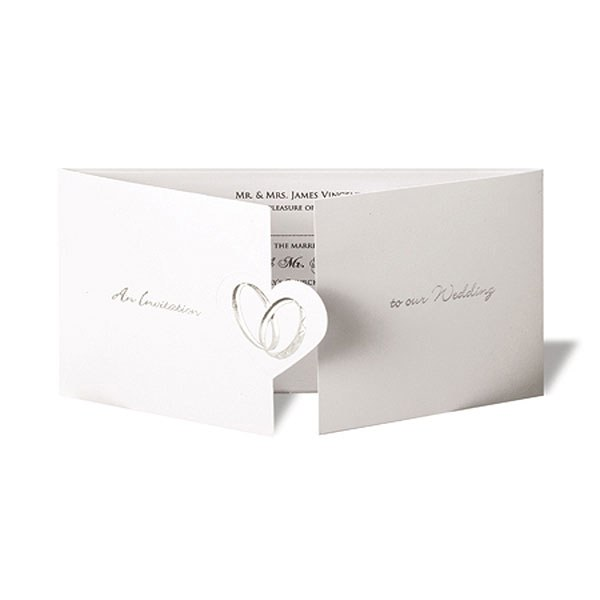 Coupled Wedding Rings Elegant Gate Fold Invitation