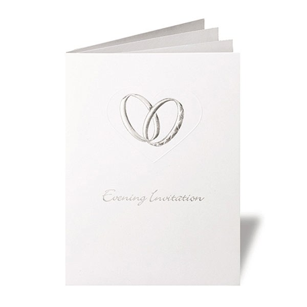 Coupled Wedding Rings Elegant Gate Fold Evening Invitation