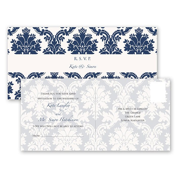 Damask Classic Pearl Gatefold Stationery Collection Acceptance Card