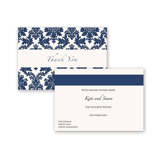 Damask Classic Pearl Gatefold Stationery Collection Thank You Card