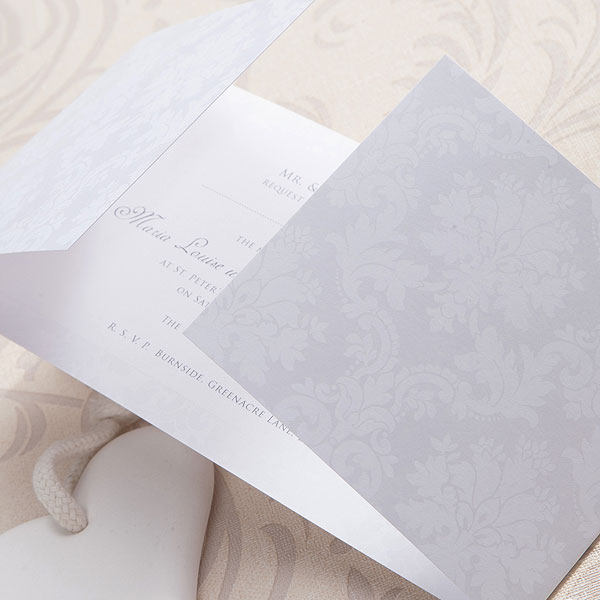 Damask Classic Pearl Gatefold Stationery Collection Evening Invitation