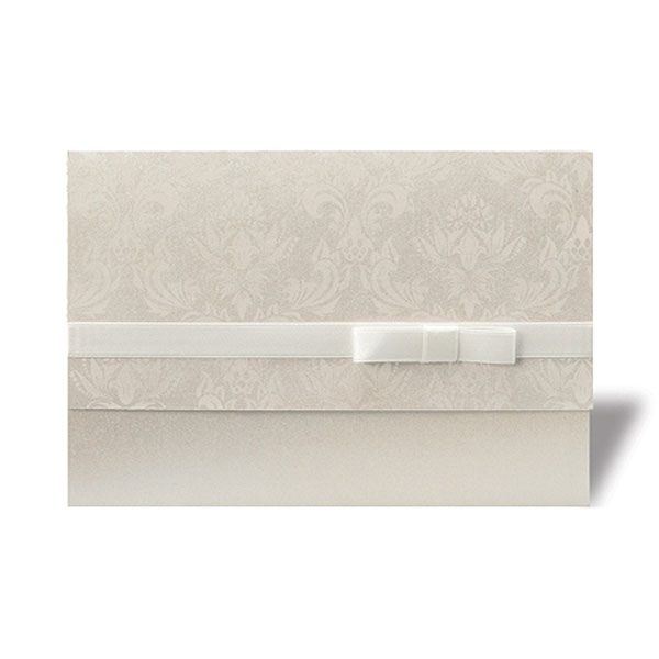 Damask Ribbon Pearlised Wallet With Ribbon Stationery Invitation