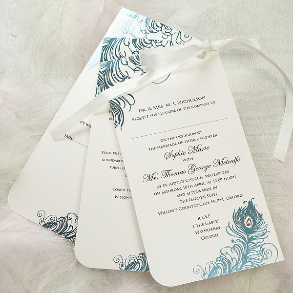 Feathers Three Card Pearlised Range Invitation