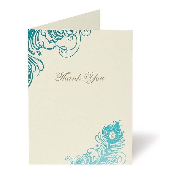 Feathers Three Card Pearlised Range Thank You Card