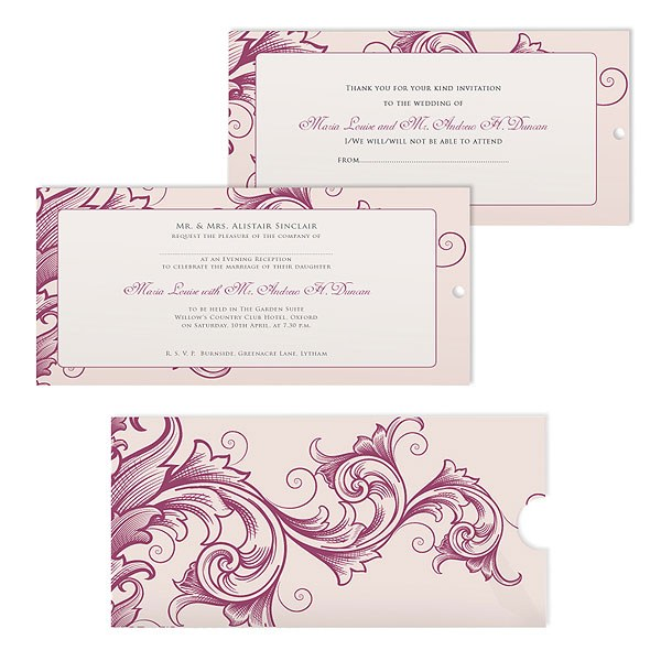 Filigree Scroll Wallet Pearl Range Invitation