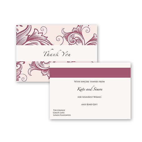Filigree Scroll Wallet Pearl Range Thank You Card