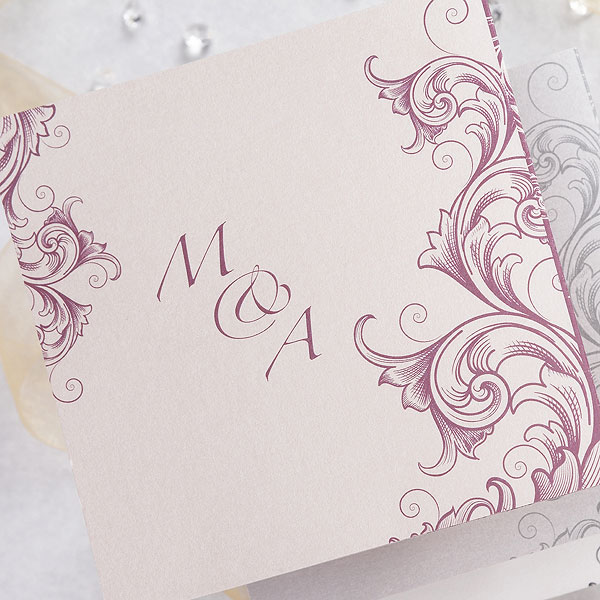 Filigree Scroll Z Fold Pearl Range Invitation