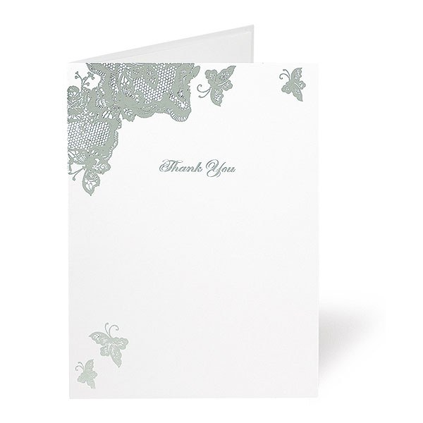 Lace Butterfly Design Wedding Stationery Thank You Card