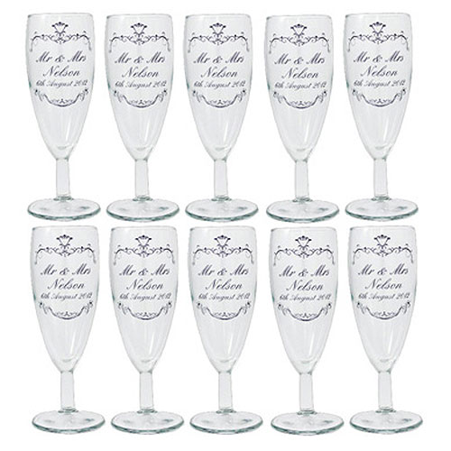 Personalized Ornate Swirl Toast Flute Pack