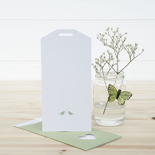 White and Sage Eco Chic Birds Design Large Insert Tag - 10 Pack