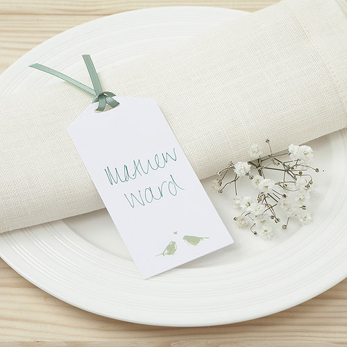 White and Sage Eco Chic Birds Design Place Card Tag - 10 Pack