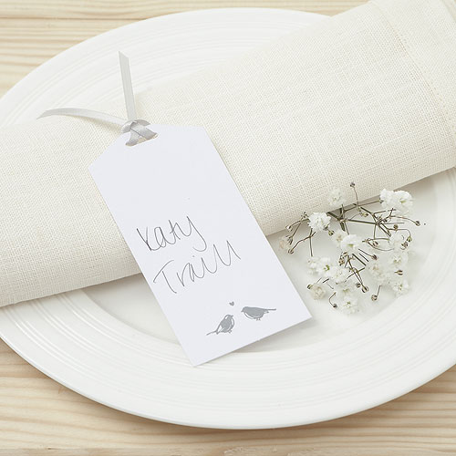 White and Silver Eco Chic Birds Design Place Card Tag - 10 Pack