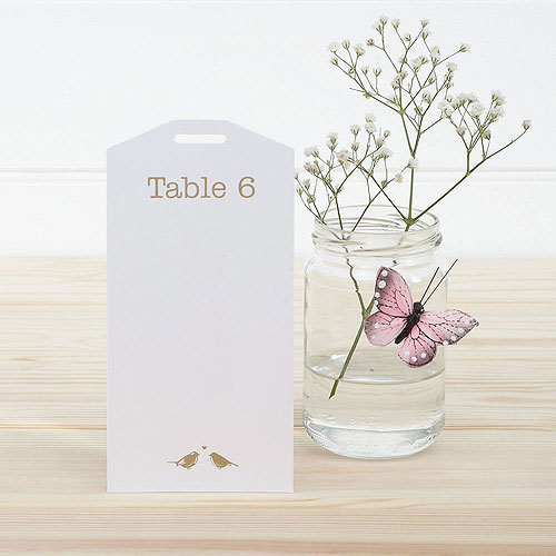 White and Silver Eco Chic Birds Design Table Plan Tags 1-16