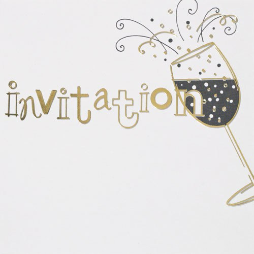 Champagne Glass Wedding Invitation Cards - 6 Pack