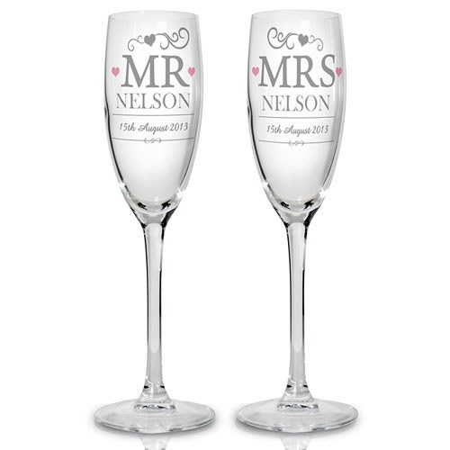 Bride & Groom ' Mr & Mrs' Glass Flutes   Personalised