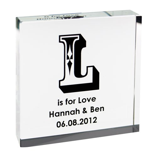 Bride and Groom Initial Keepsake Glass Block