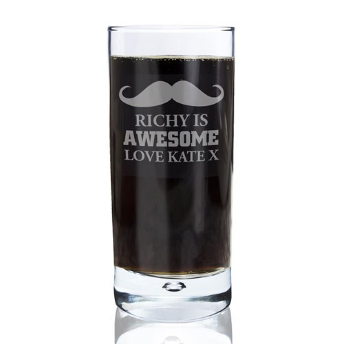Moustache Hi Ball Drinking Glass Wedding Party Gift   Personalised