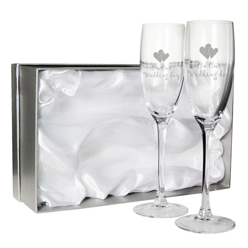 Pair  Of Bride & Groom 'On Our Wedding Day' Glass Flutes