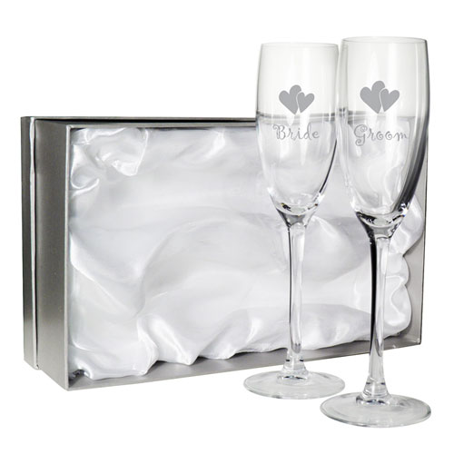 Pair of Bride and Groom Wedding Reception Glass Flutes