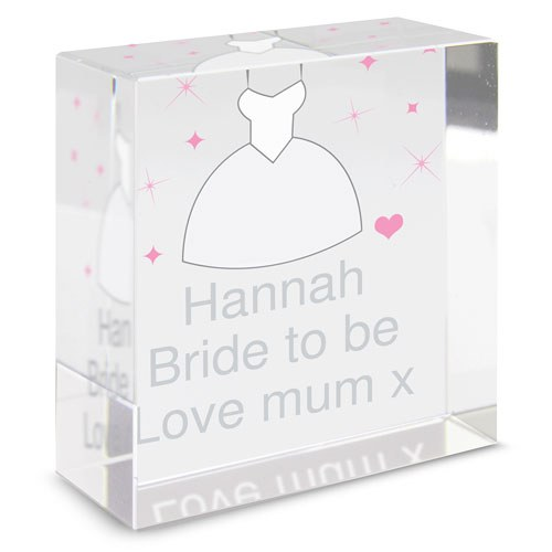 Bride To Be Glass Message Block Gift   Personalised