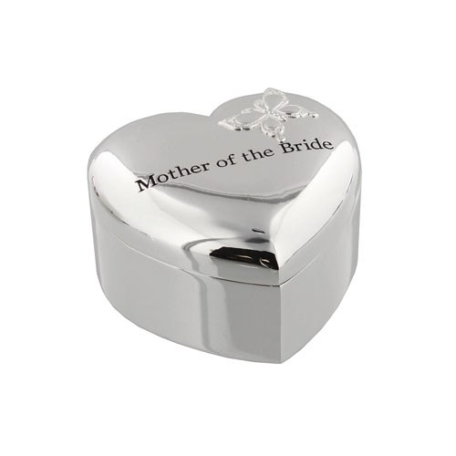 Amore Silverplated Heart Trinket Box   'Mother of The Bride'