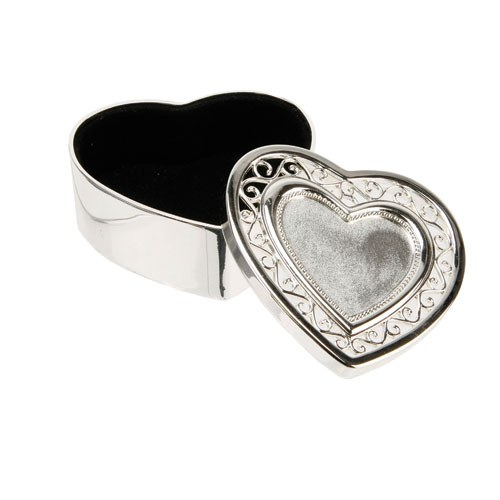 Especially For You Silverplated Heart Filigree Trinket Box